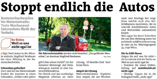 Anrainer startet Petition (Artikel in der bz)