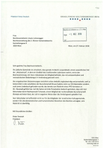 Offener Brief der IKG an BVin Uschi Lichtenegger